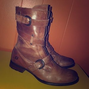 BORN Brown Leather Moto Style Short Boots
